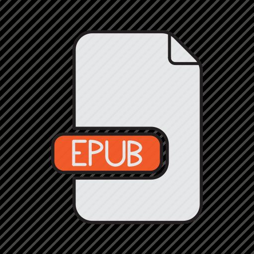 epub, extension, file, type icon