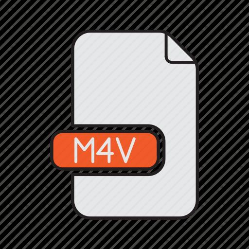audio, extension, m4v, sound, type, video icon