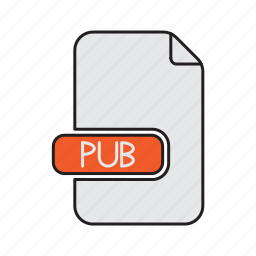 extension, file, microsoft, pub, publisher, type icon