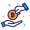 bit, bitcoin, charity, crypto, currency, hand, help, money icon