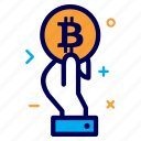 bit, bitcoin, coin, crypto, currency, hand, money icon