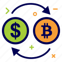 bit, bitcoin, convert, crypto, currency, dollar, money icon