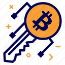 bit, bitcoin, crypto, currency, key, login, money, secure icon