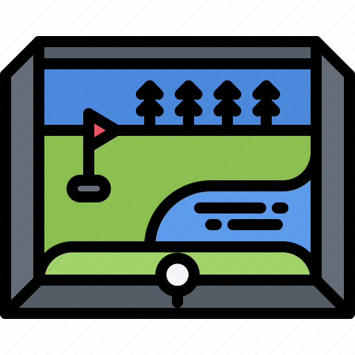 field, game, golf, golfer, projector, sport, video icon