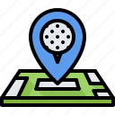 field, golf, golfer, location, map, pin, sport icon