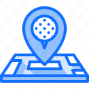 field, golf, golfer, location, map, pin, sport icon