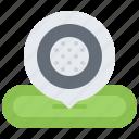 ball, field, golf, golfer, location, pin, sport icon