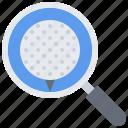 ball, field, golf, golfer, magnifier, search, sport