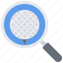 ball, field, golf, golfer, magnifier, search, sport icon