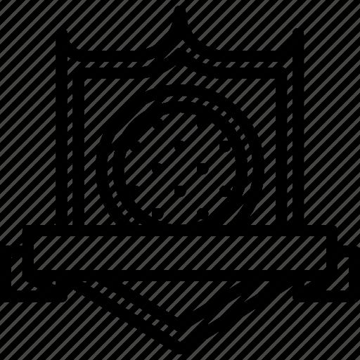 badge, field, golf, golfer, ribbon, shield, sport icon
