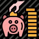 banking, coins, deposit, save, saving money icon