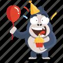 birthday, celebrate, emoji, emoticon, gorilla, smiley, sticker icon