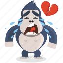 broken, emoji, emoticon, gorilla, heart, smiley, sticker icon