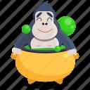 cauldron, emoji, emoticon, gorilla, potion, smiley, sticker icon