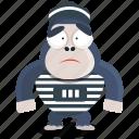 emoji, emoticon, gorilla, prisoner, smiley, sticker icon