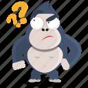 emoji, emoticon, gorilla, question, smiley, sticker, wonder icon