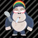 emoji, emoticon, gorilla, smiley, smoker, sticker icon