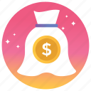 cash, currency, dollars, finance, money, money bag icon