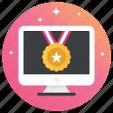 badge, bronze, medal, prize, ribbon medal, shield icon