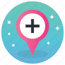 gps, hospital location, hospital map, medical services, navigation, online location icon