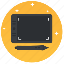 drawing pad, drawing tablet, graphic tablet, pen tablet, technology icon