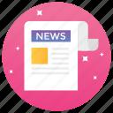 bulletin, headlines, magazine, newspaper, reading paper icon