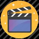 clapper, clapperboard, directors action, movie clapper, open clapper icon