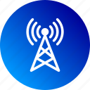 broadcast, gradient, radio, signal, tower, waves icon