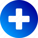 clinic, cross, gradient, health, hospital, medical, red cross icon