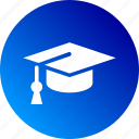 bachelor, cape, course, education, gradient, hat, learning icon