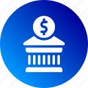 bank, building, dollar sign, finances, gradient, investiment, money icon
