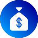 cash, dollar sign, gradient, money bag, payment, profit icon