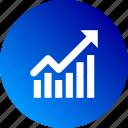 bar chart, dashboard, gradient, increase, rising, stocks icon