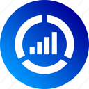 analytics, bar chart, chart, dashboard, gradient, pie chart icon
