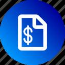 document, dollar sign, file, gradient, money icon