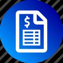 document, dollar sign, gradient, money, sheet icon