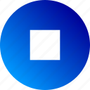 audio, gradient, playback, square, stop, video icon