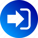 arrow, enter, get it, gradient, in, inside, login icon