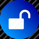 gradient, open, opened, public, unblocked, unlock icon