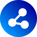 collaboration, connect, connected dots, gradient, participation, share, sharing icon