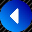 arrow, back, gradient, left, navigation, previous icon
