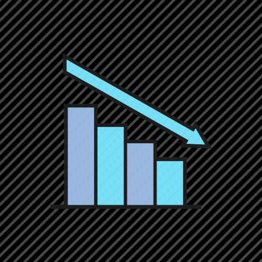 business, chart, data, decrease, finance, graph, stats icon