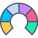 analytics, bar, chart, circle, diagram, donut, semi icon