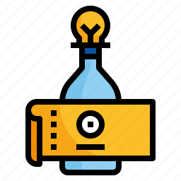 bottle, design, label, sticker, tag icon