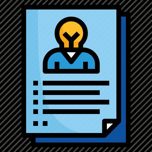 design, personal, portfolio, profile, resume icon