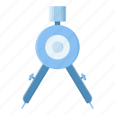 compass, equipment, divider, drawing, geometry, tool icon