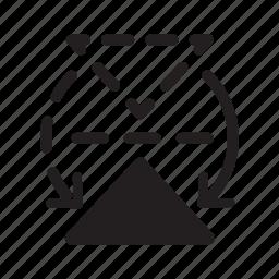 arrow, design, graphic, horizontal, mirror, tool, triangle icon
