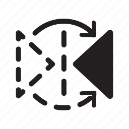 arrow, design, graphic, mirror, tool, triangle, vertical icon