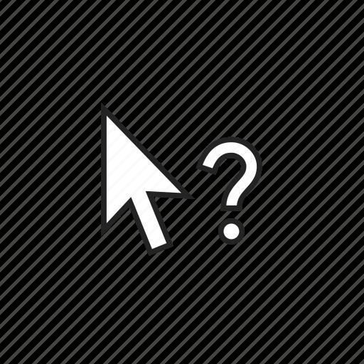 arrow, cursor, help icon