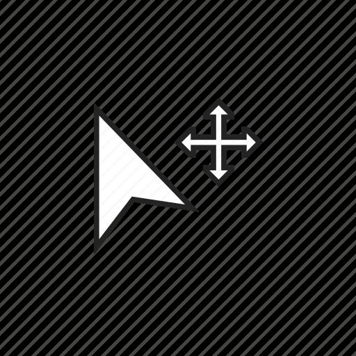 arrow, cursor, drag, expand, move, pointer icon